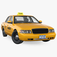 3D model crown victoria yellow taxi