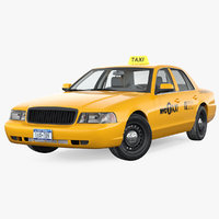 generic yellow taxi rigged 3D
