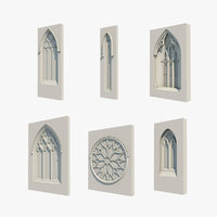 6 Gothic windows, medieval windows, church windows set