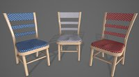 Game Ready Chair Model with 3 2K PBR texture sets