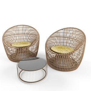 3D nest rattan furniture set model