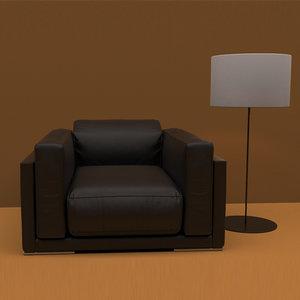3D realistic leather sofa model