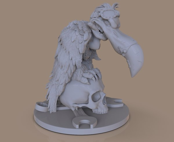 stylized vulture printing 3D model