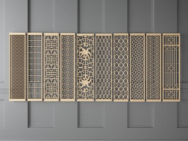 3D modern light wooden partition