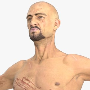 photorealistic body wounded character 3d model
