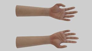 3D rigged hand pbr materials model
