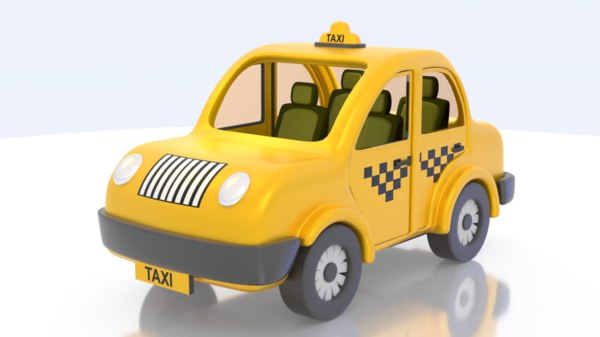 cute taxi car cartoon 3D model