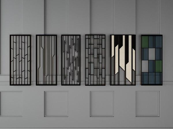 3D model partition colored glass