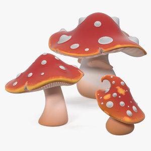 3D amanita cartoon mushrooms set