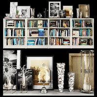 3D white bookshelf set
