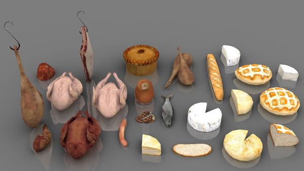 24 medieval meat cheese model