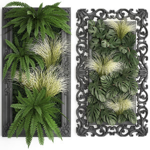 3D classic vertical gardening green wall model