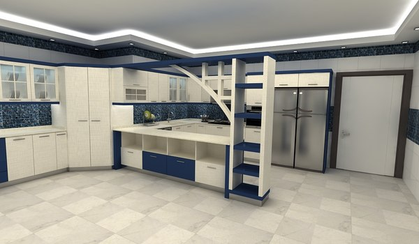 kitchen blue 3D model