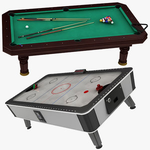 billiard air hockey table 3D model
