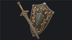 3D pbr fantasy sword scabbard model