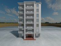 3D exterior apartment building