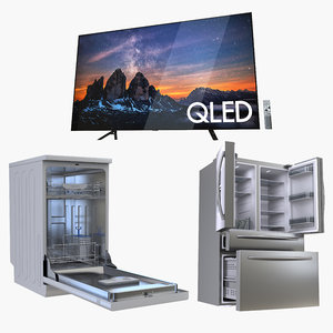 3D model samsung electronics dishwasher refrigerator