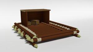3D wooden raft