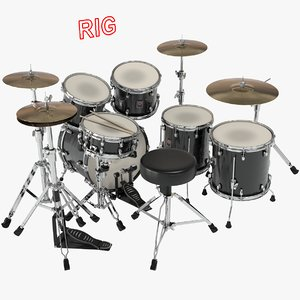 3D rigged drumset model