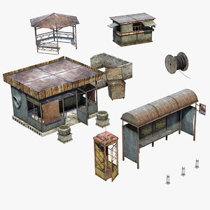 3D model set abandoned city