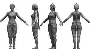 indian dancing folk girl 3D model
