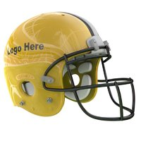 yellow football helmet 3D model