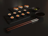Sushi set - Low poly