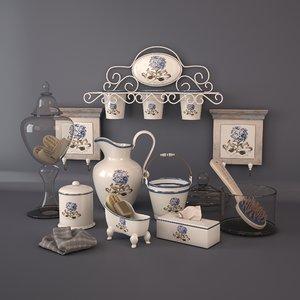 3D model decorative set hydrangea bathroom