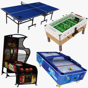 arcade basketball foosball pingpong 3D model