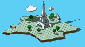 toureiffel eiffel cartoon 3D model