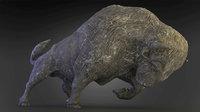 bison buffalo bull statue 3D