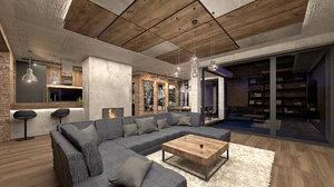 industrial living room kitchen model