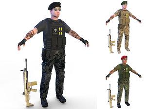 4k soldier beret 3D model