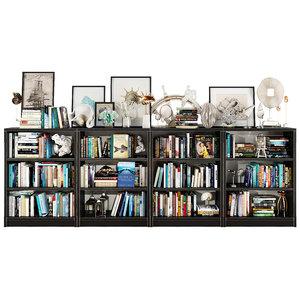 3D dark bookshelf set model