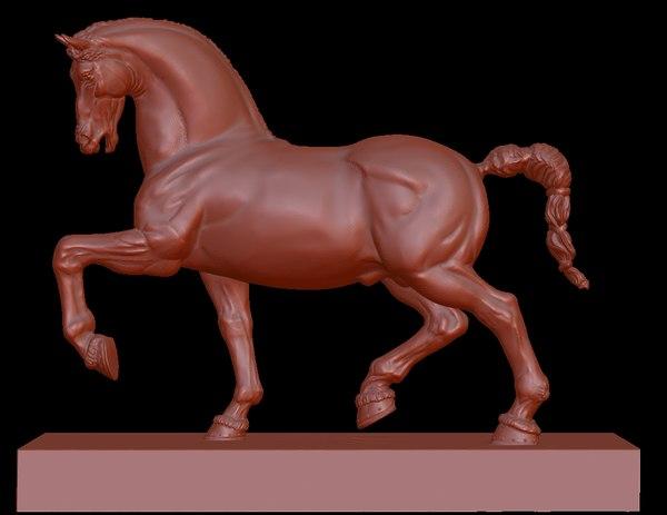 horse statue sculpture 3D model