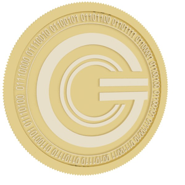global cryptocurrency gold coin 3D model