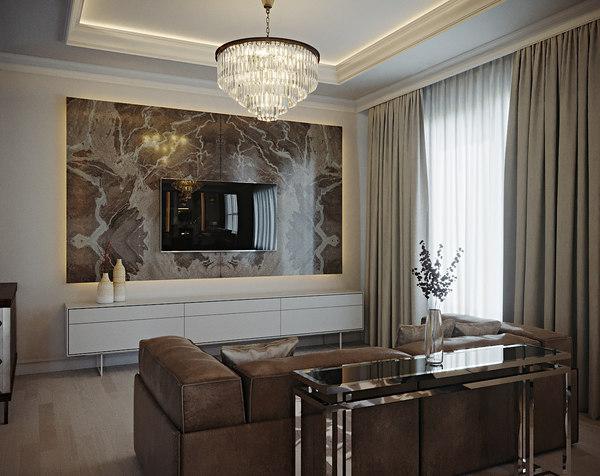 3D interior living room