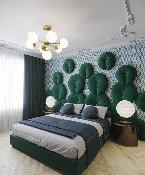3D bed bedroom interior model
