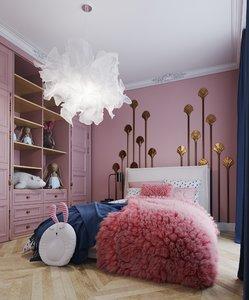 3D childrens room interior
