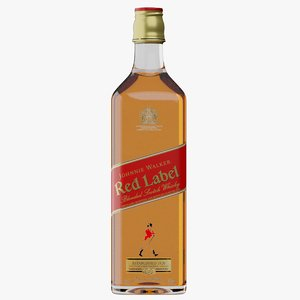 3D realistic red label whisky bottle model