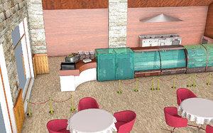 3D restaurant interior building