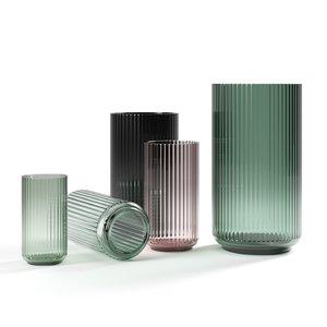 set relief glass vases 3D model