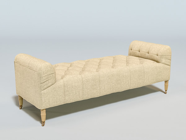 3D camille tufted settee model