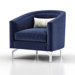 annette cabriole armchair 3D model