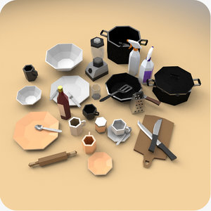 3D model kitchen props