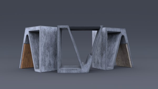 3D concrete chair wood