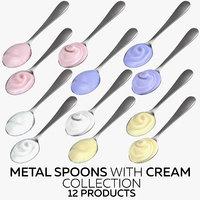 3D metal spoons cream