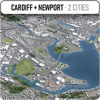 cardiff - newport surrounding 3D model