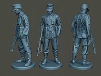3D german soldier ww2 looking