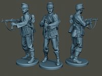 german soldier ww2 shoot 3D model